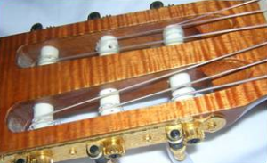 Classical Guitar Strings at Headstock
