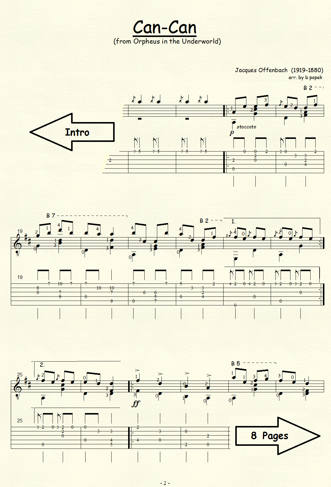Can-Can (Offenbach) for Classical Guitar in Tablature