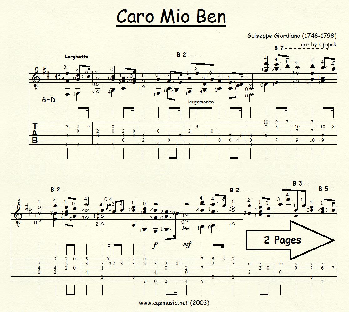 Cario Mio Ben (Giordiano) for Classical Guitar in Tablature