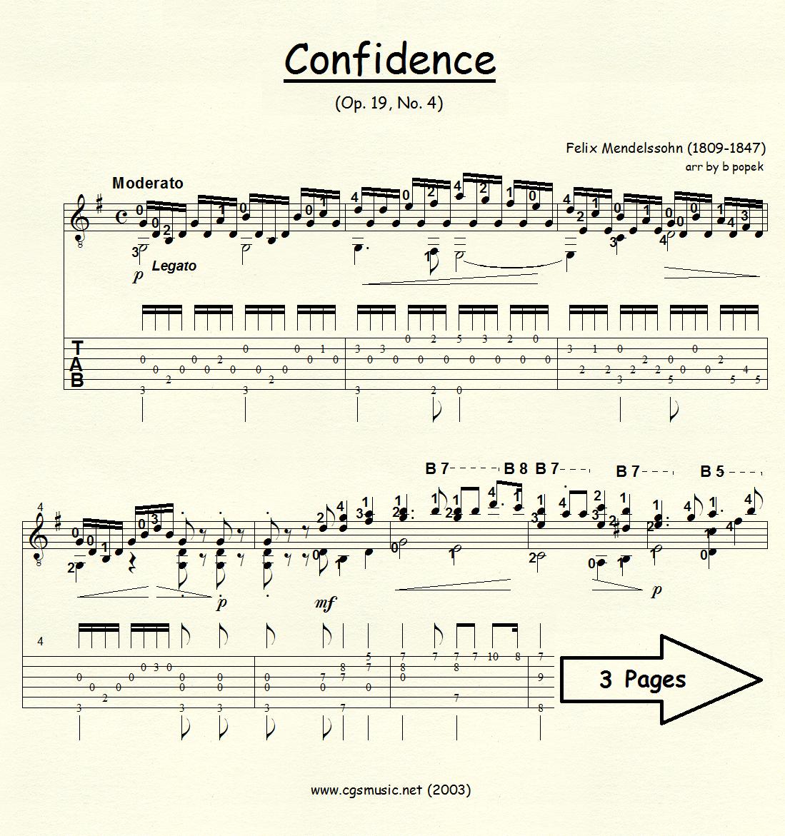 Confidence (Mendelssohn) for Classical Guitar in Tablature