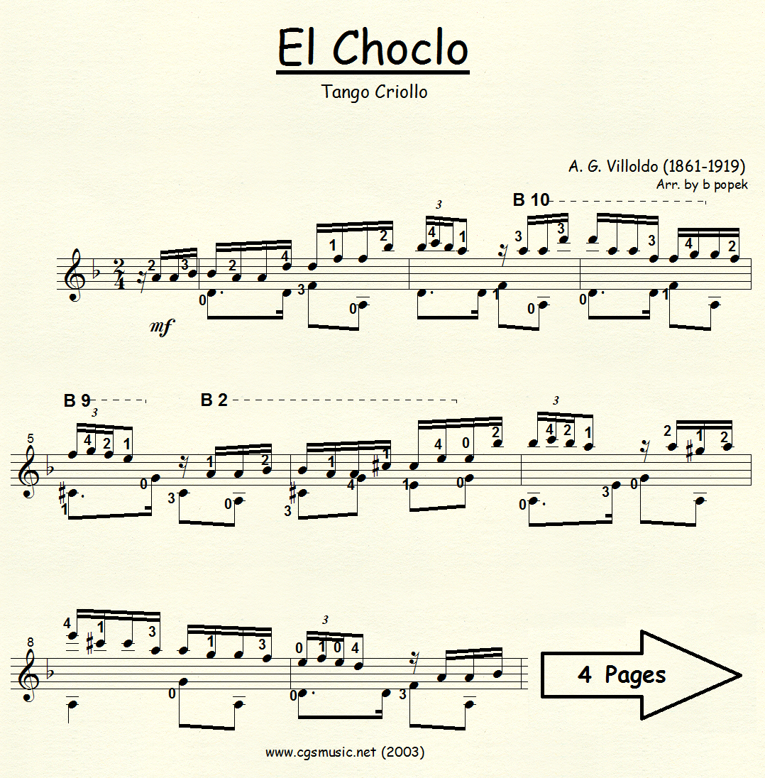 El Choclo (Villoldo) for Classical Guitar in Standard Notation