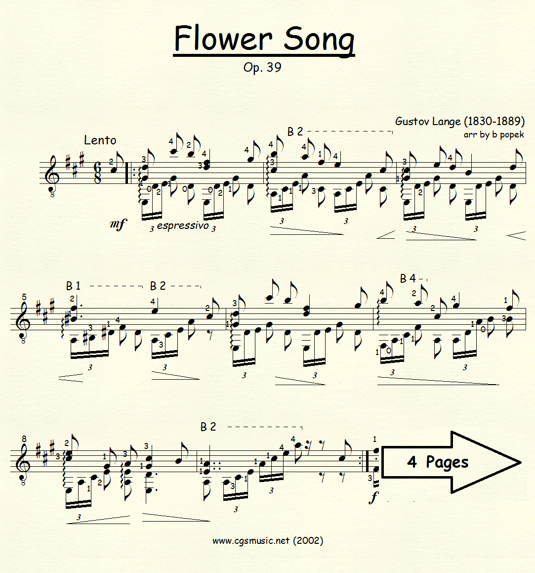 Flower Song (Lange) for Classical Guitar in Standard Notation