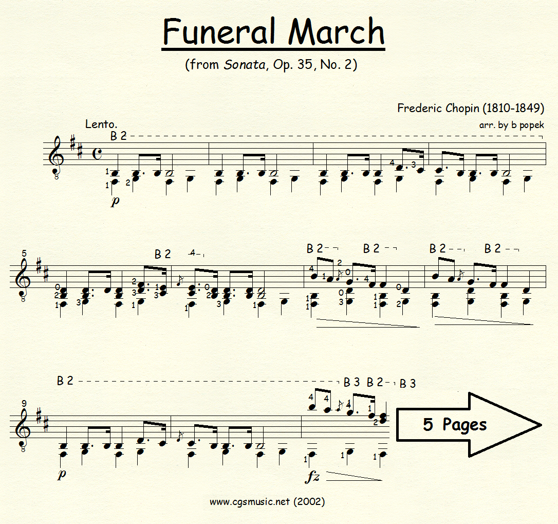Funeral March from Sonata Op. 35 #2 (Chopin) for Classical Guitar in Standard Notation