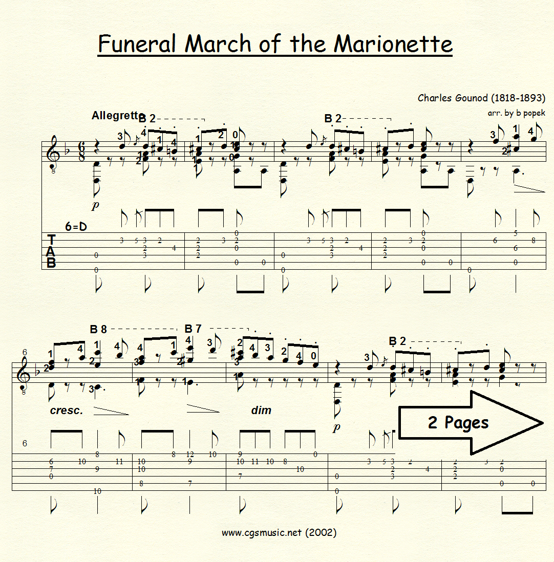 Funeral March of the Marionette (Gounod) for Classical Guitar in Tablature