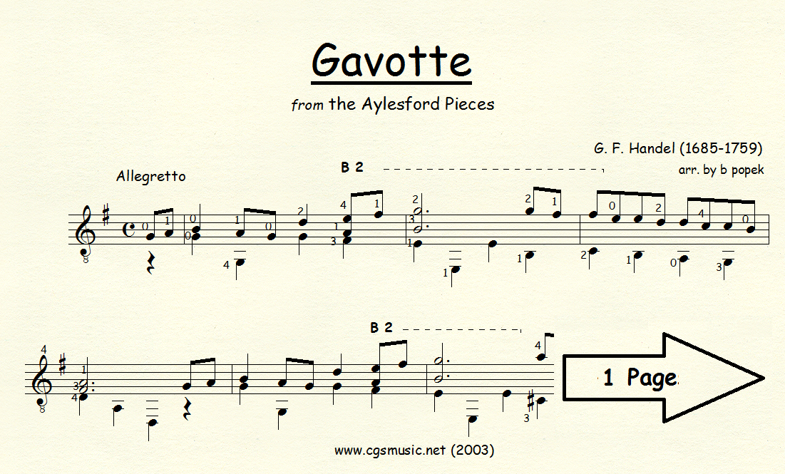 Gavotte (Handel) for Classical Guitar in Standard Notation