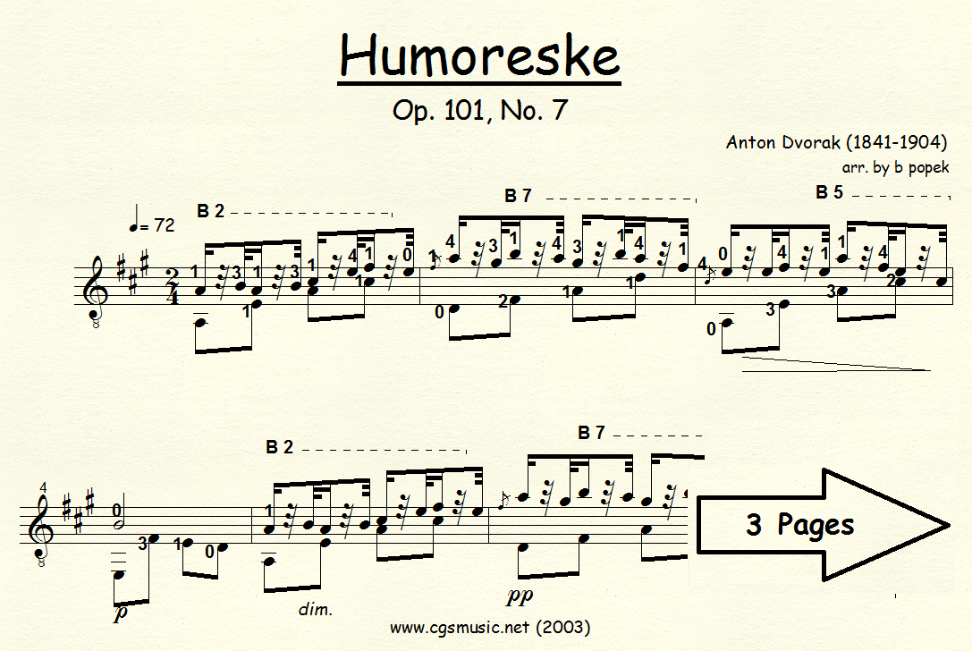 Humoreske Op.101, No. 7 (Dvorak) for Classical Guitar in Standard Notation