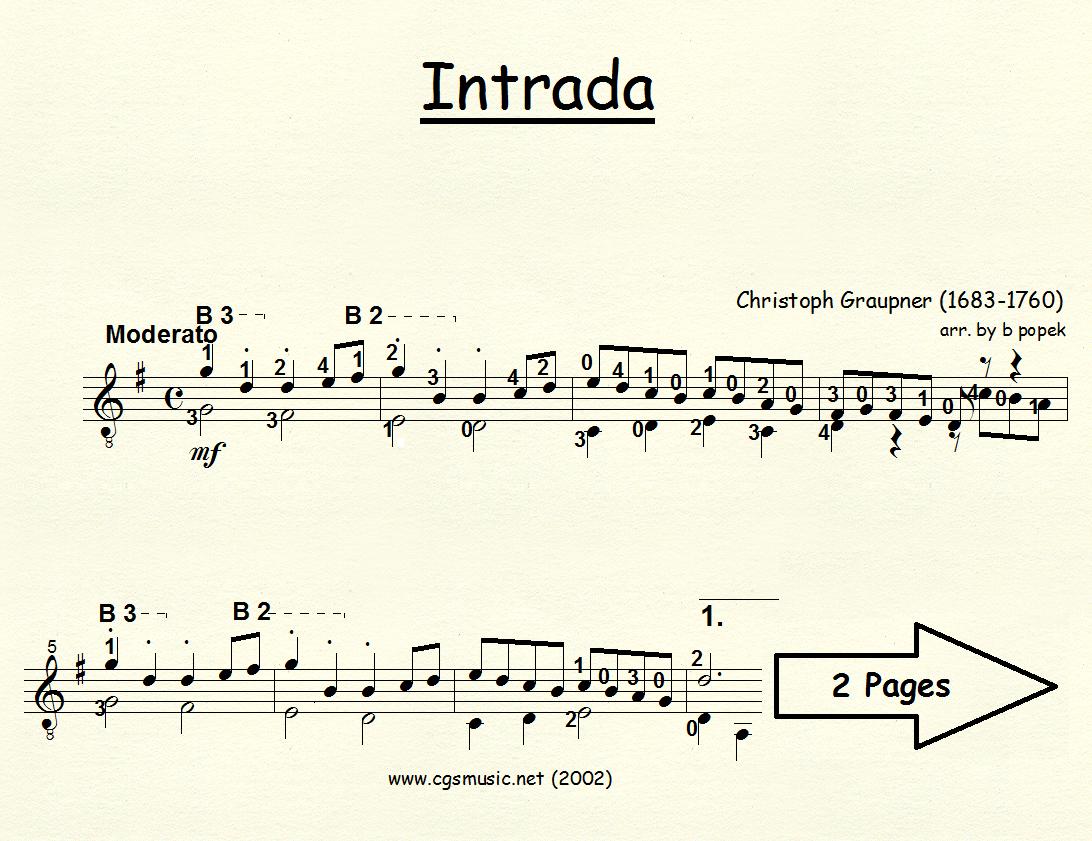 Intrada (Graupner) for Classical Guitar in Standard Notation