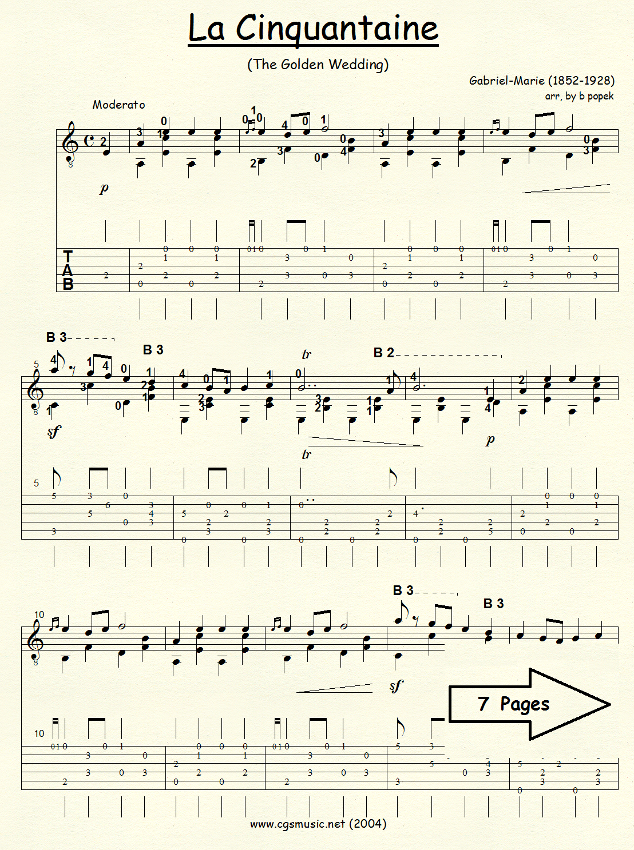 La Cinquantaine The Golden Wedding (Gabriel-Marie) for Classical Guitar in Tablature