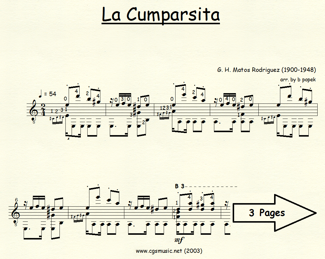 La Cumparsita (Rodriguez) for Classical Guitar in Standard Notation