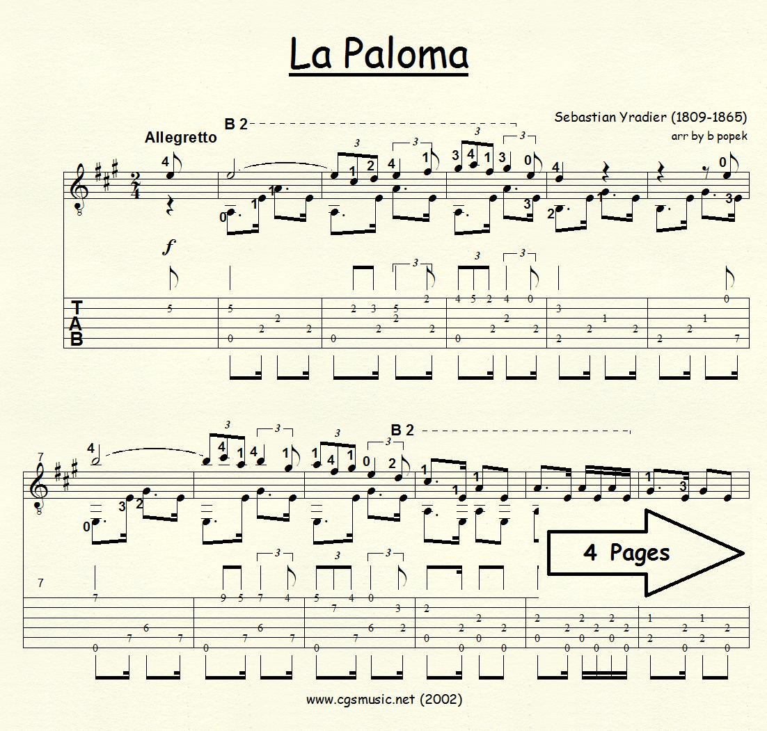 La Paloma (Yradier) for Classical Guitar in Tablature