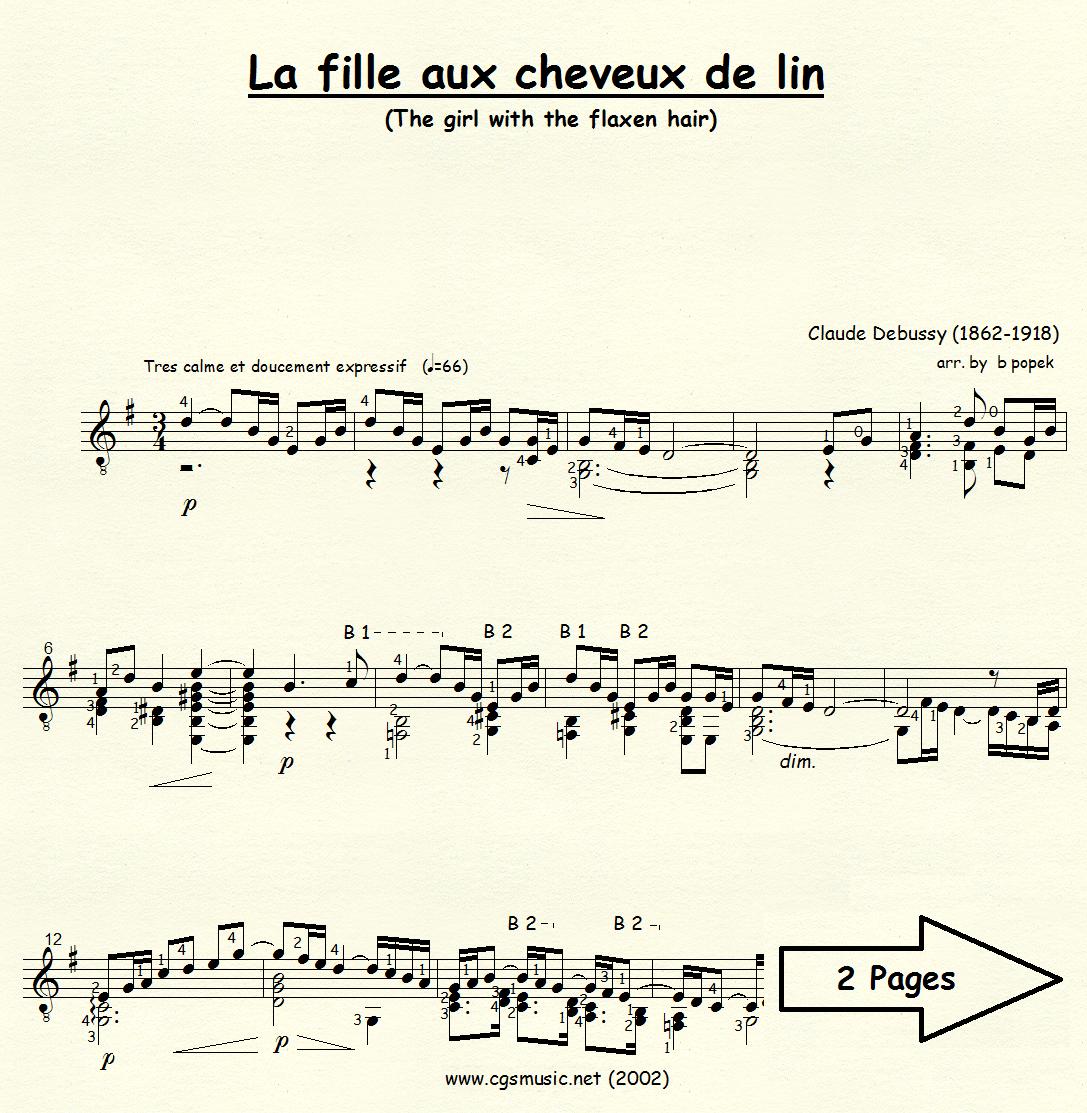 La fille aux cheveux de lin (Debussy) for Classical Guitar in Standard Notation