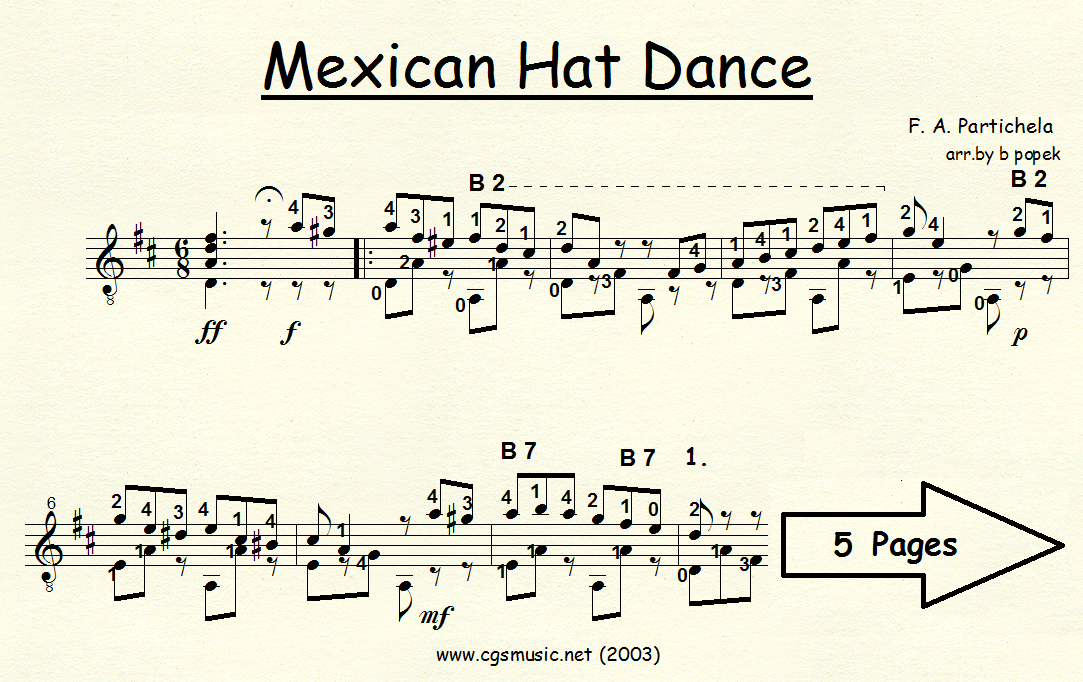 Mexican Hat Dance (Partichela) for Classical Guitar in Standard Notation