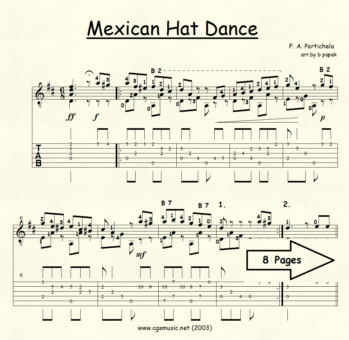 Mexican Hat Dance (Partichela) for Classical Guitar in Tablature
