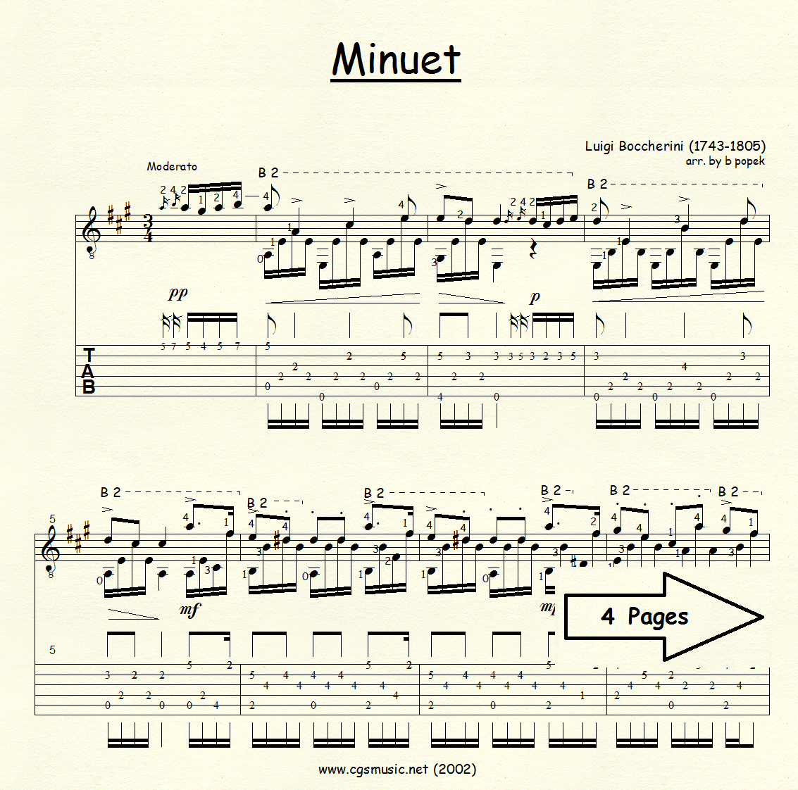 Minuet (Boccherini) for Classical Guitar in Tablature