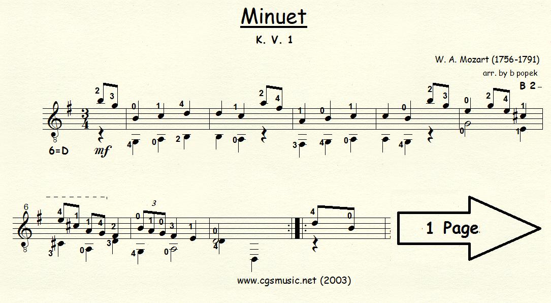 Minuet K.V. 1 (Mozart) for Classical Guitar in Standard Notation