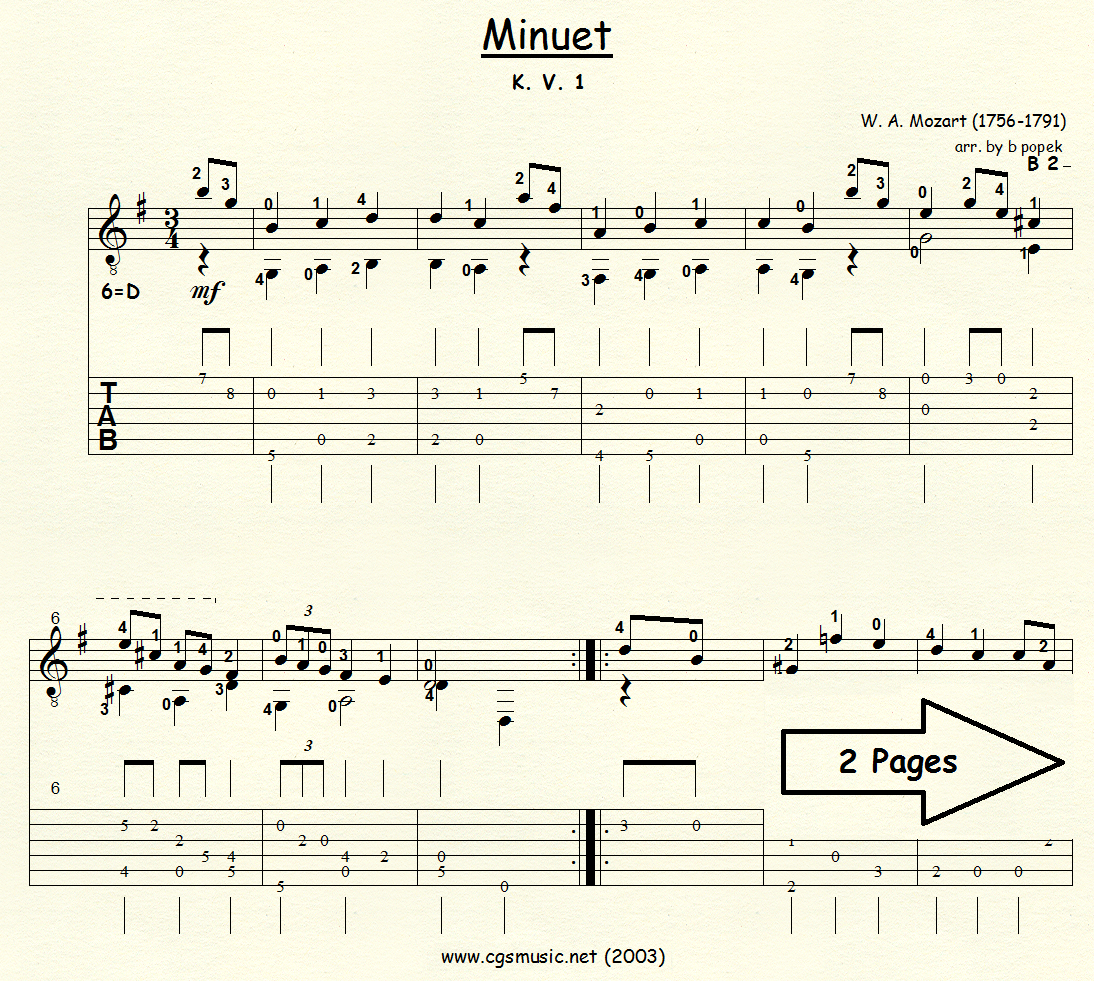 Minuet K.V. 1 (Mozart) for Classical Guitar in Tablature