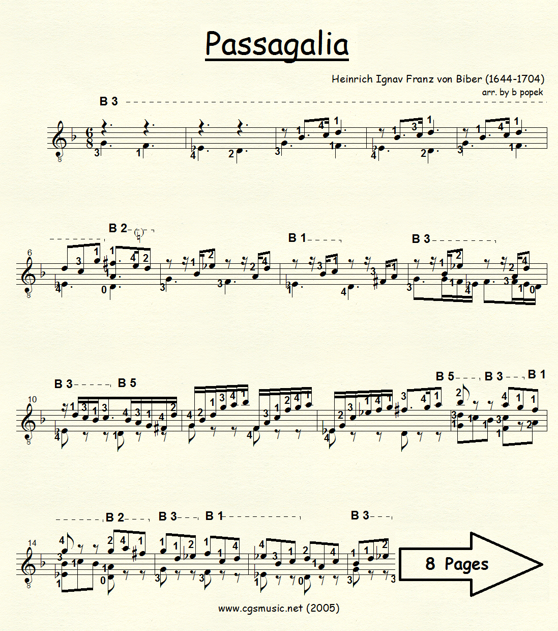 Passagalia (Biber) for Classical Guitar in Standard Notation