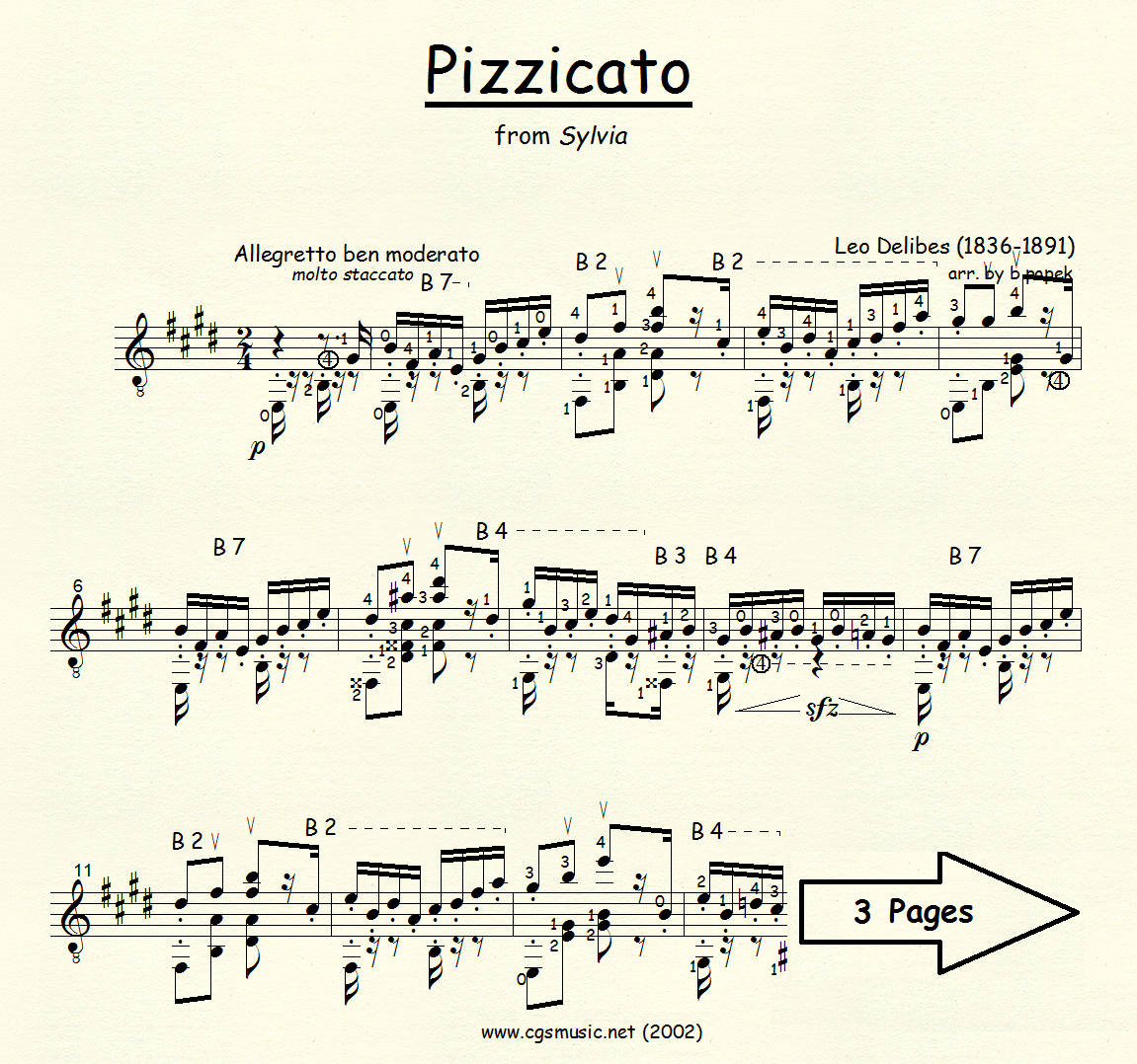 Pizzicato (Delibes) for Classical Guitar in Standard Notation