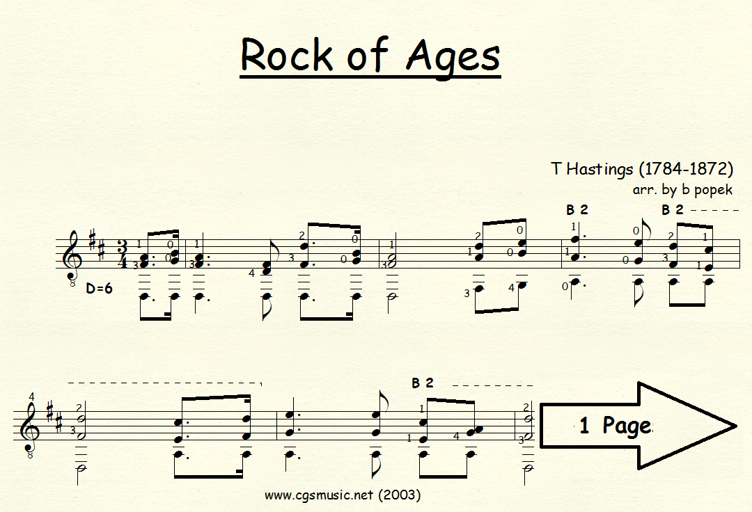 Rock of Ages (Hastings) for Classical Guitar in Standard Notation