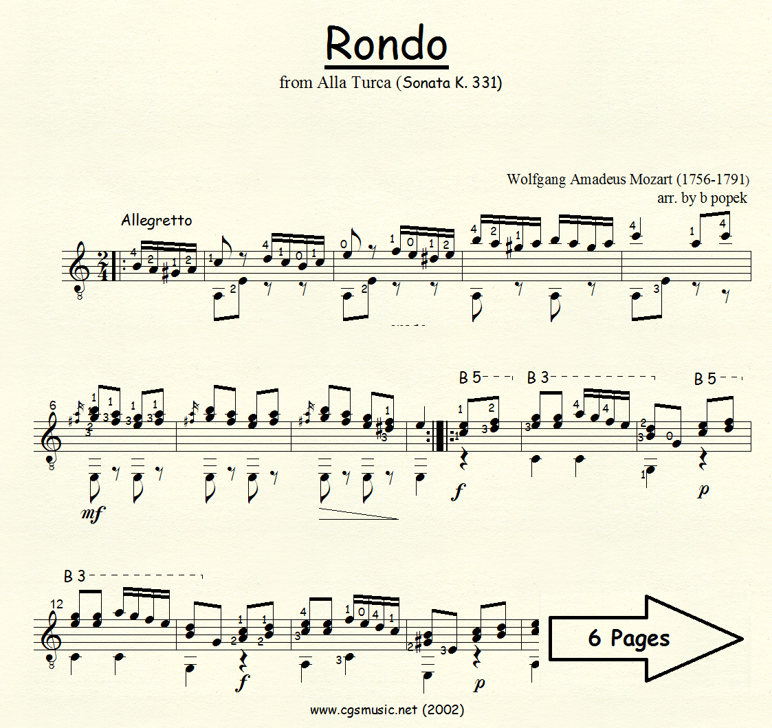 Rondo from Alla Turca (Mozart) for Classical Guitar in Standard Notation