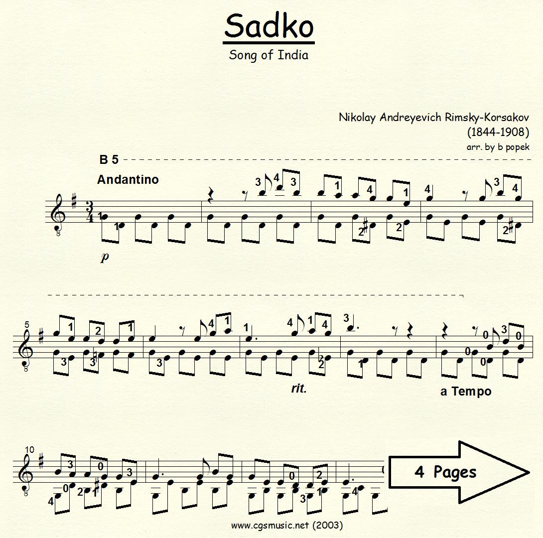 Sadko Song of India (Rimsky-Korsakov) for Classical Guitar in Standard Notation