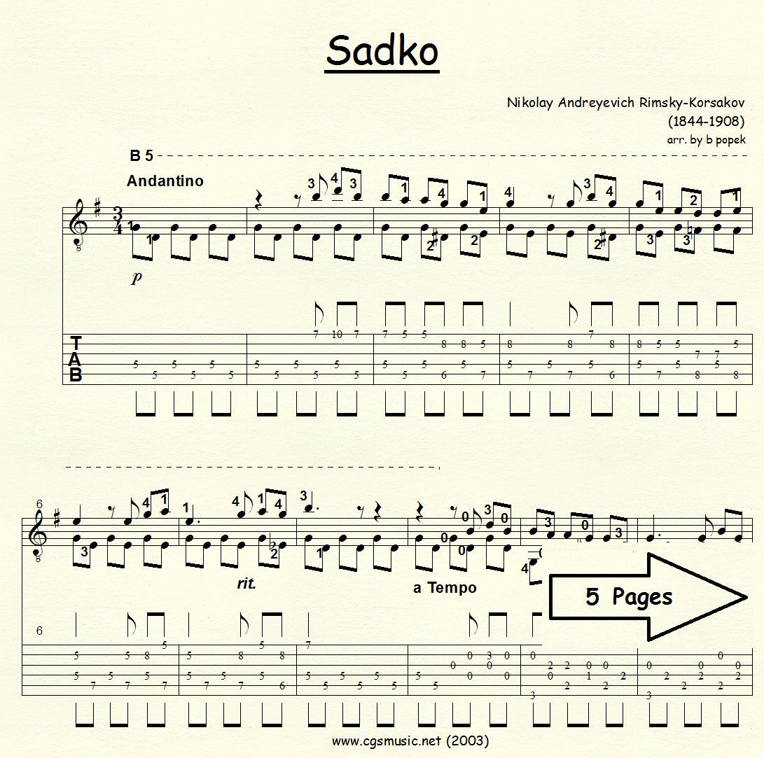 Sadko Song of India (Rimsky-Korsakov) for Classical Guitar in Tablature