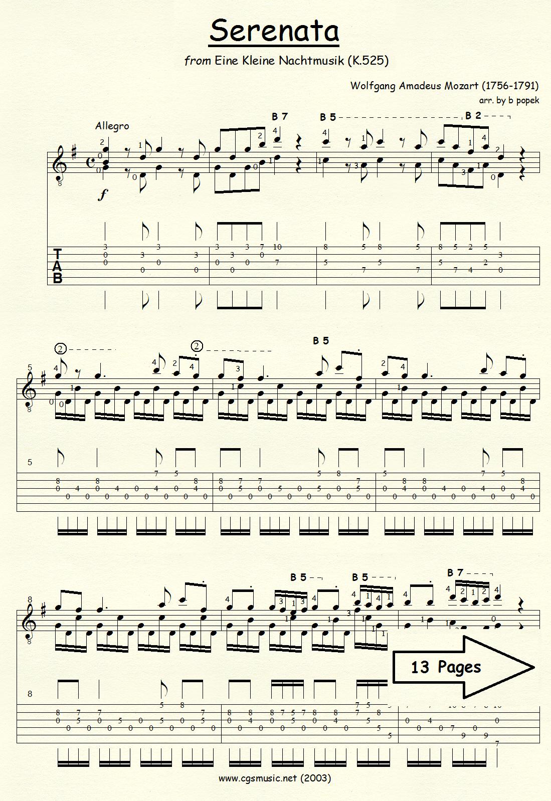 Serenata from Eine Kleine Nachtmusik (Mozart) for Classical Guitar in Tablature