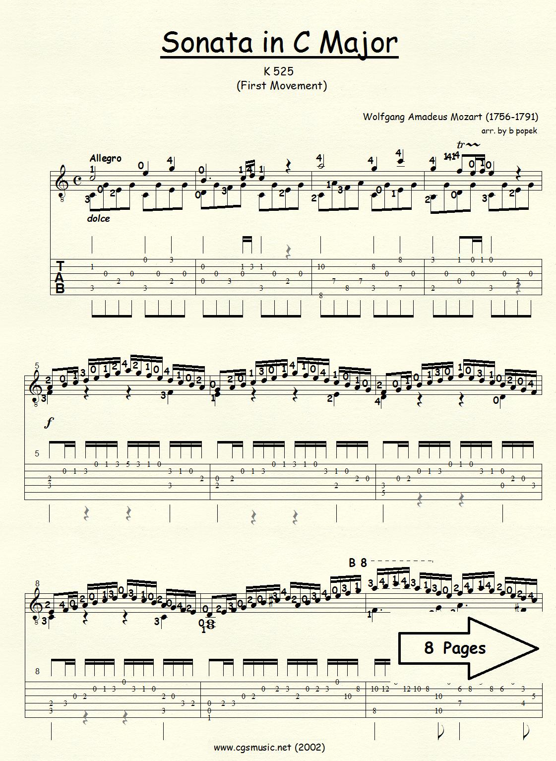 Sonata in C Major K-525 (Mozart) for Classical Guitar in Tablature