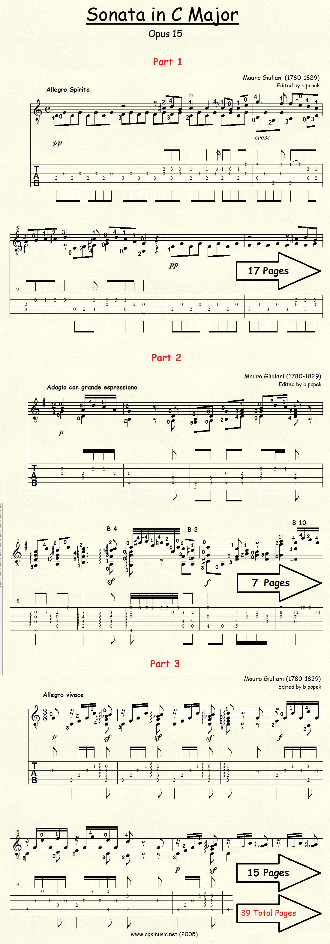 Sonata in C Major Op 15 (Giuliani) for Classical Guitar in Tablature