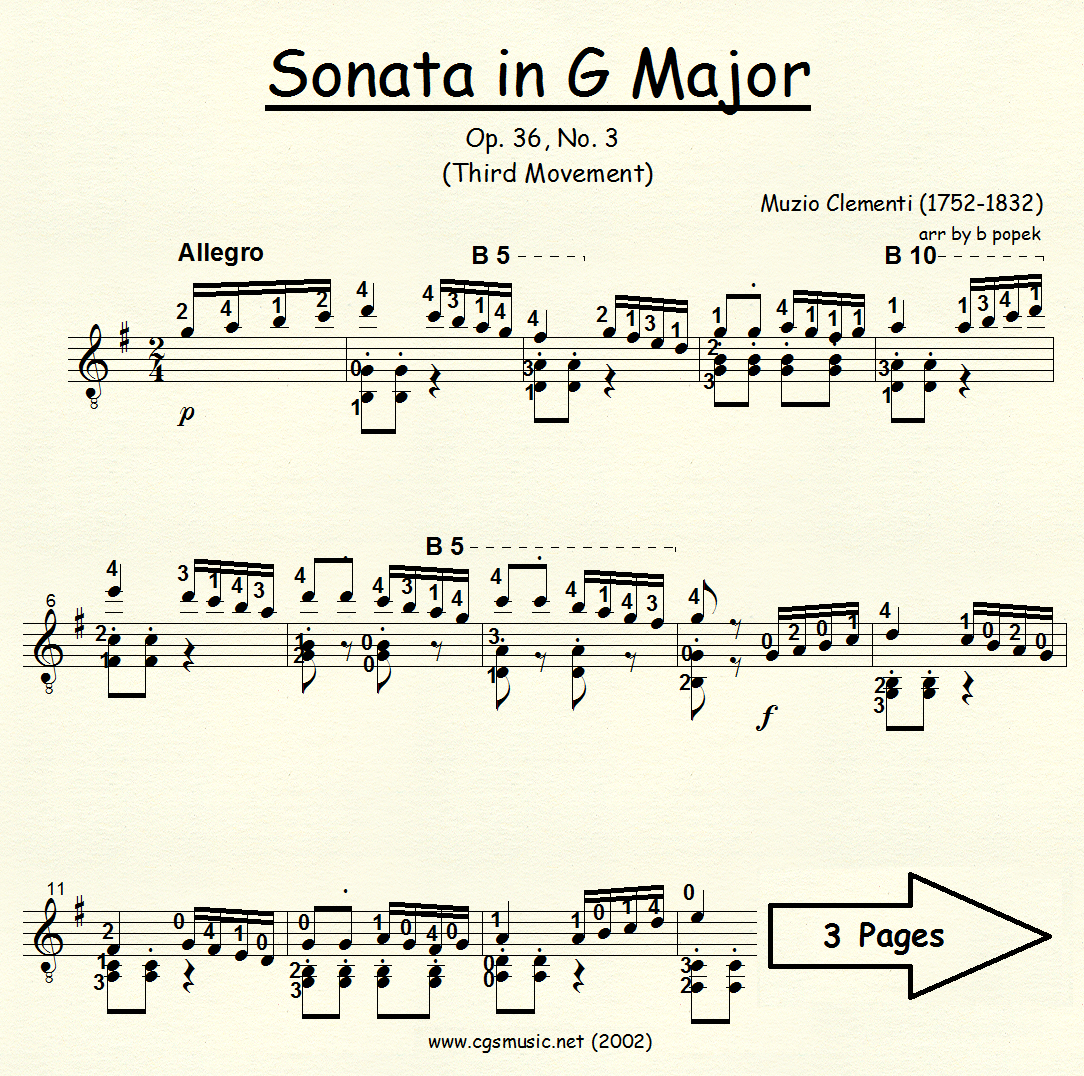 Sonata in G Major (Clementi) for Classical Guitar in Standard Notation