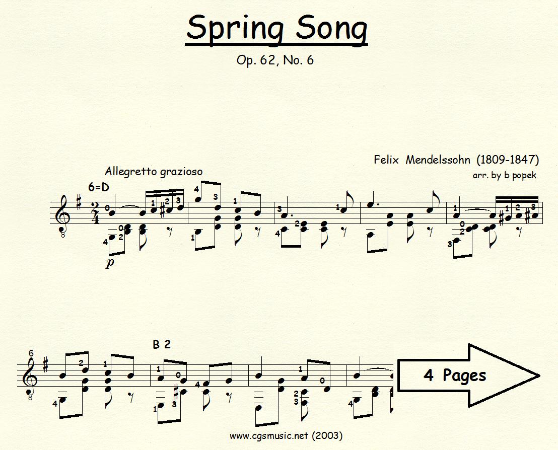 Spring Song (Mendelssohn) for Classical Guitar in Standard Notation