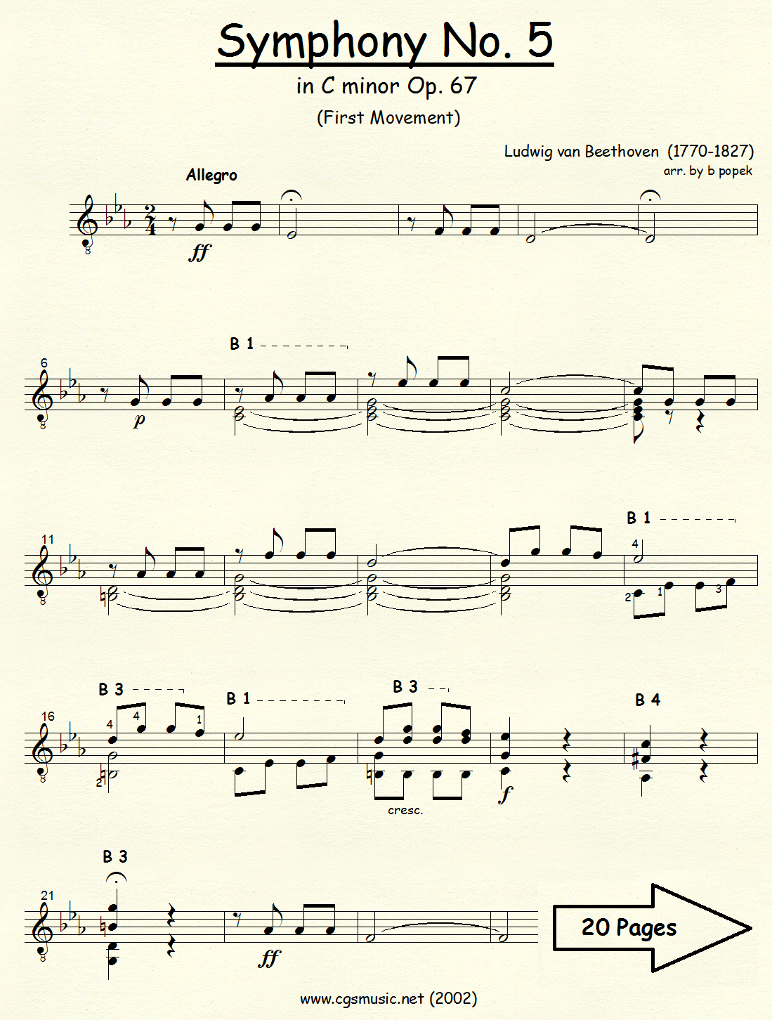 Symphony # 5 in C minor (Beethoven) for Classical Guitar in Standard Notation