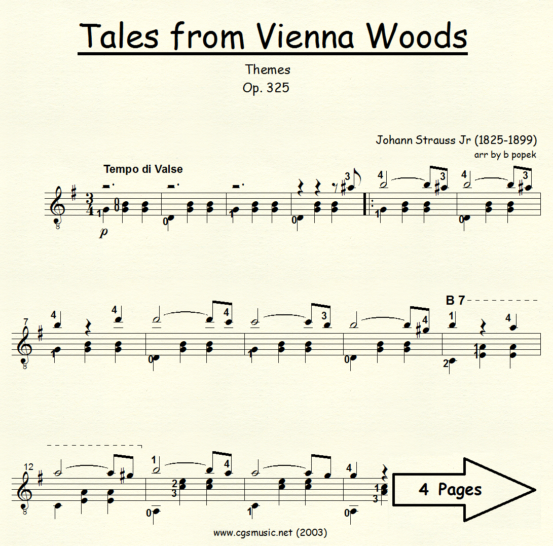 Tales from Vienna Woods (Strauss) for Classical Guitar in Standard Notation