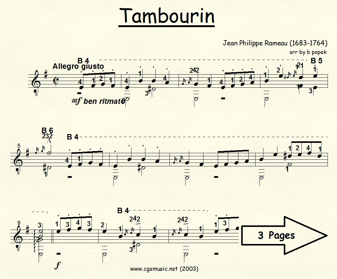 Tambourin (Rameau) for Classical Guitar in Standard Notation