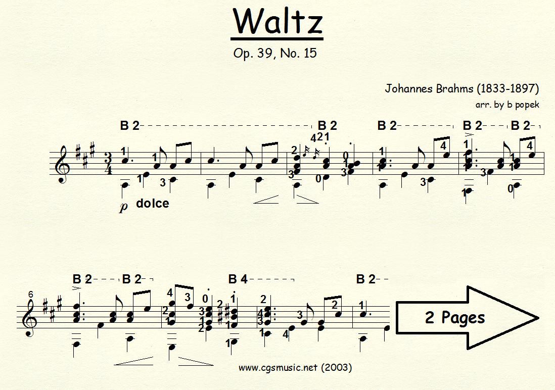 Waltz Op 39. #15 (Brahms) for Classical Guitar in Standard Notation